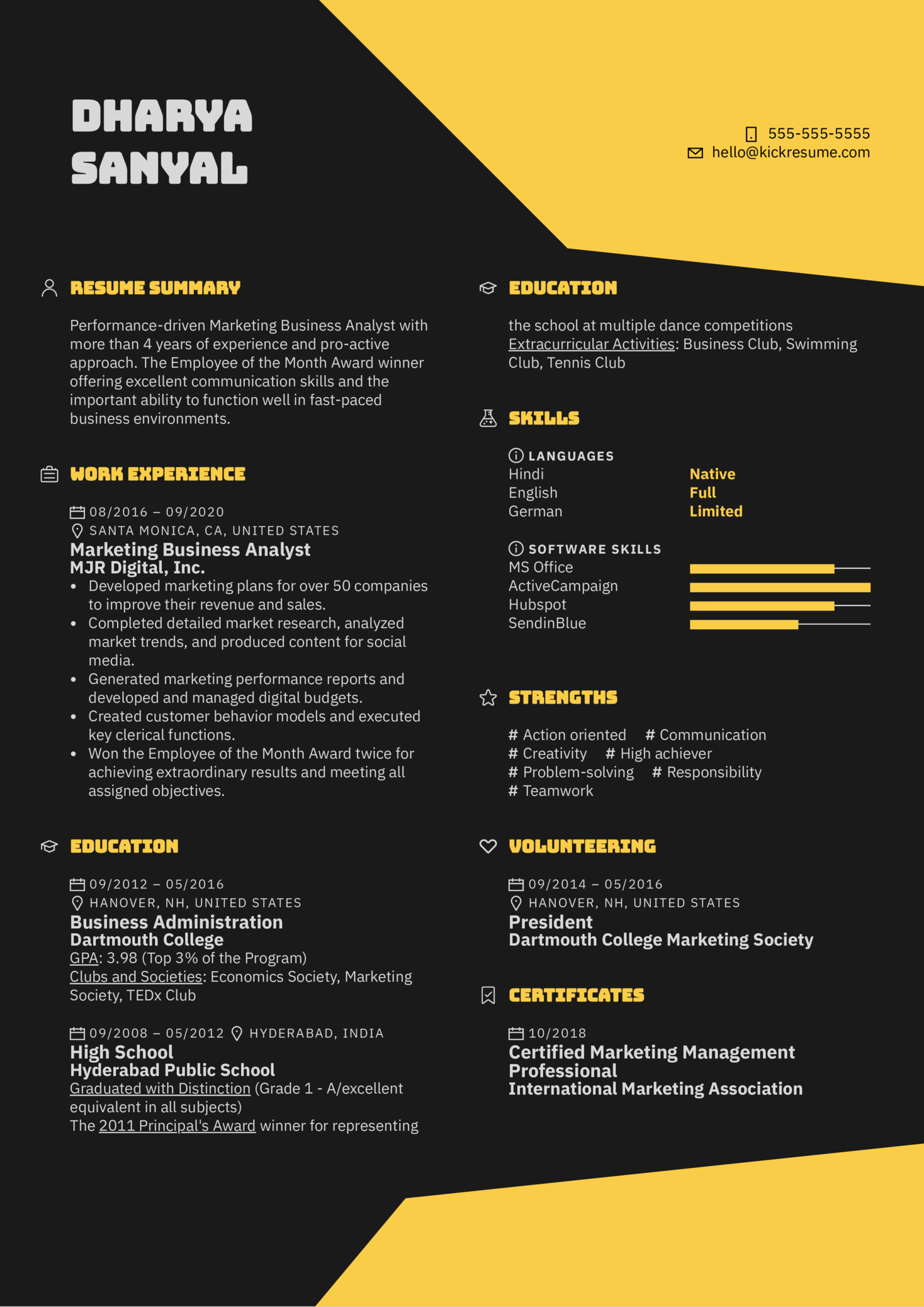 Marketing Business Analyst Resume Example