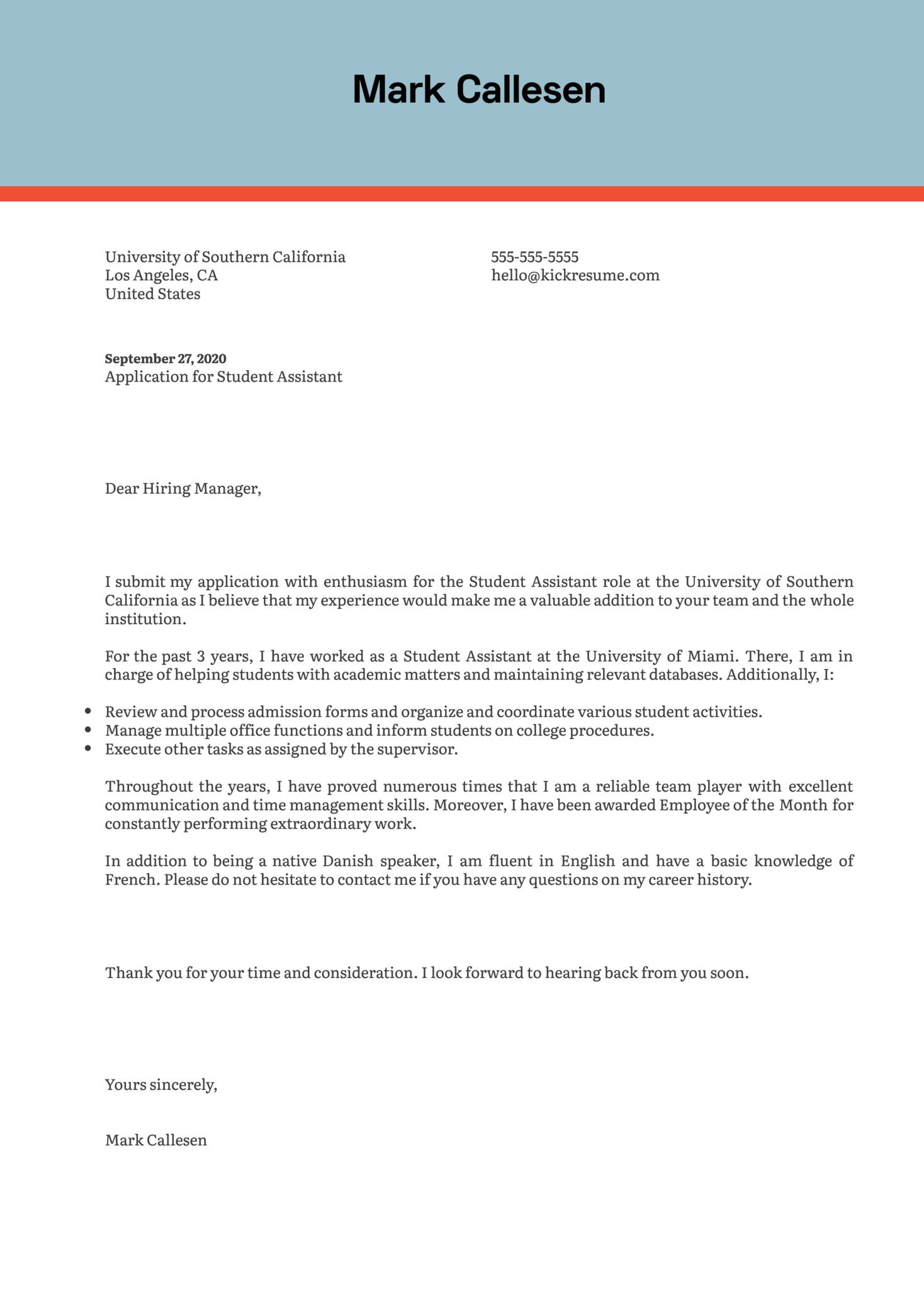 Student Assistant Cover Letter Example