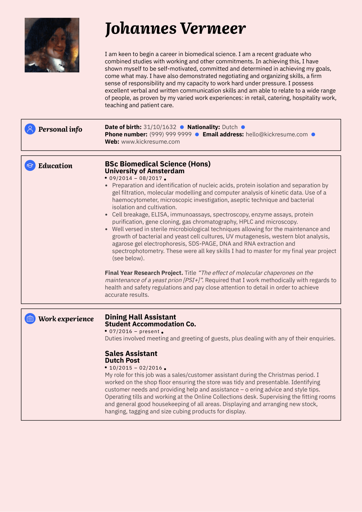 resume examples by real people  student resume biomedicine