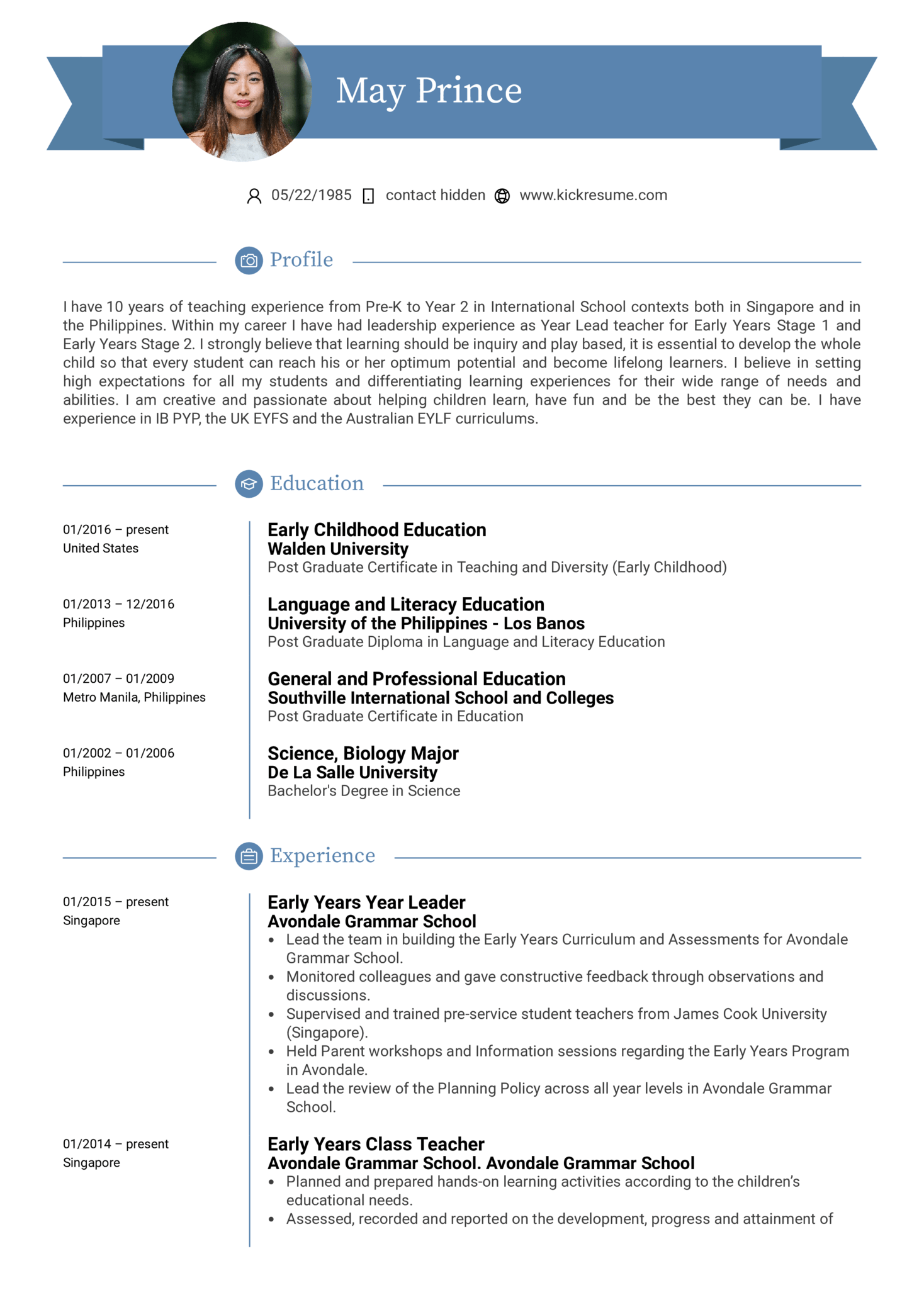 Resume Examples By Real People Teacher Resume Example Kickresume