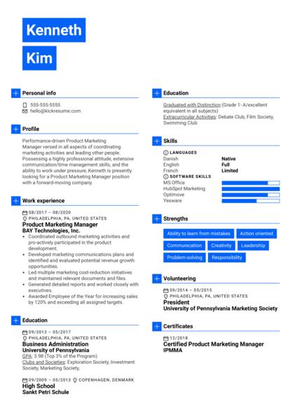 Product Marketing Manager Resume Example