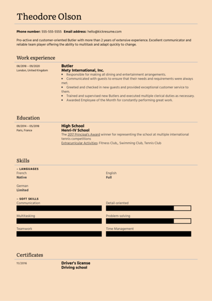 Butler Resume Example