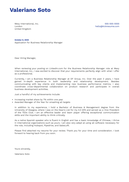 Business Relationship Manager Cover Letter Example