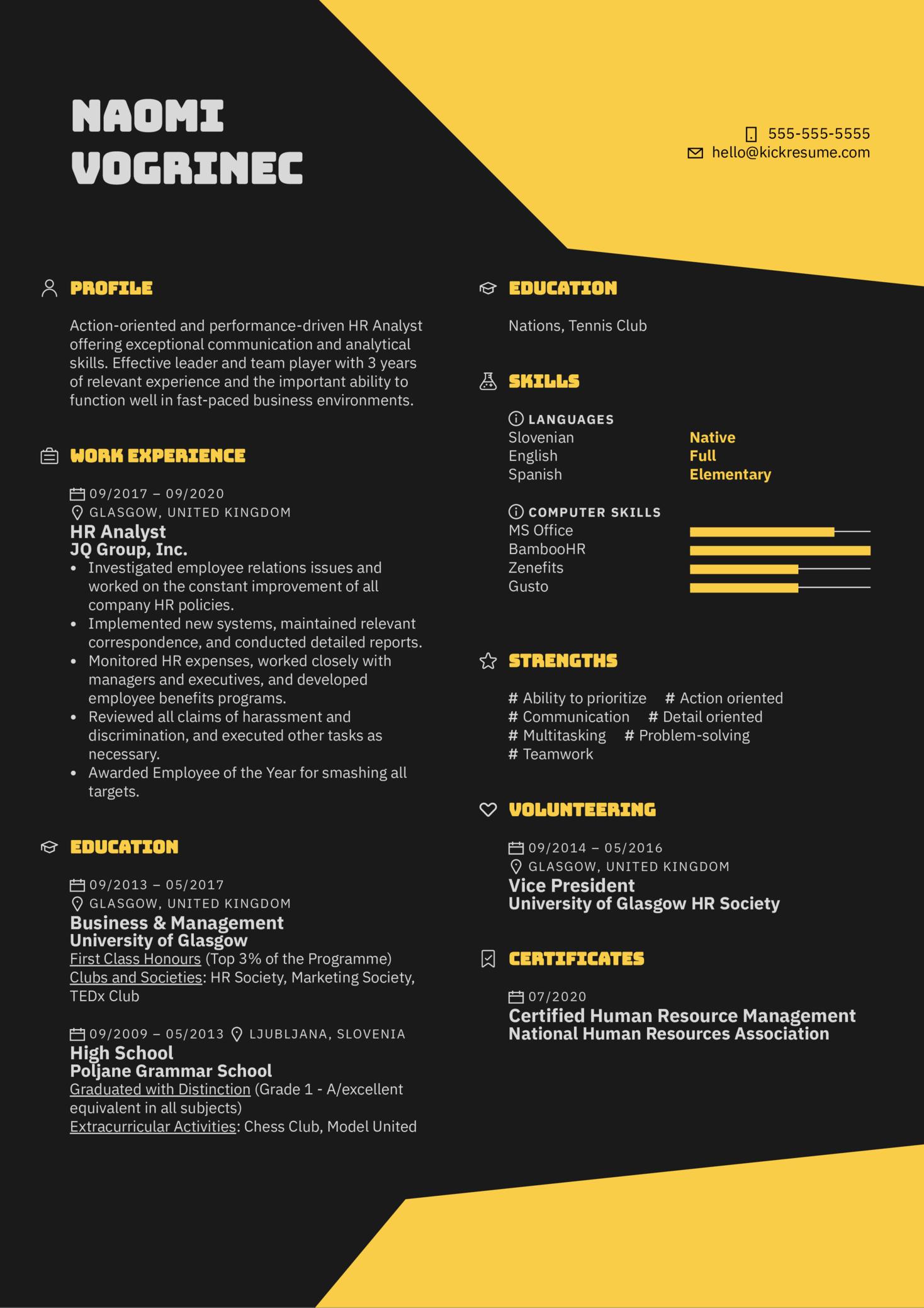 HR Resume Sample
