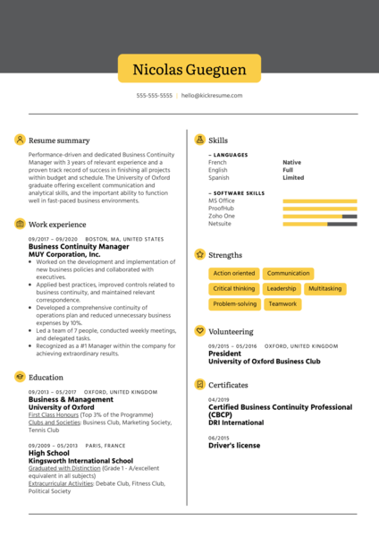 Business Continuity Manager Resume Example