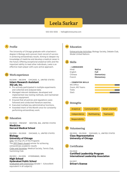 Medical School Resume Sample