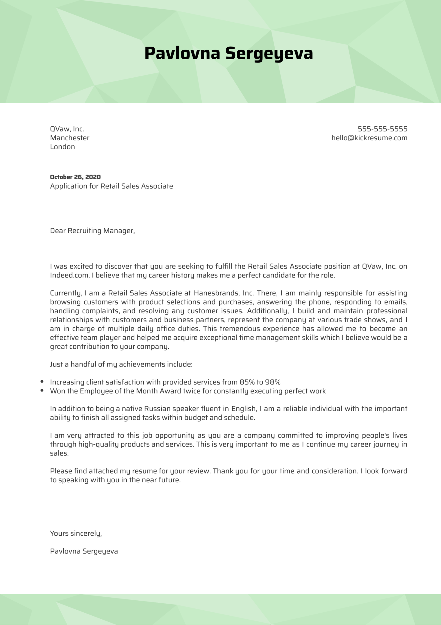 Retail Sales Associate Cover Letter Sample