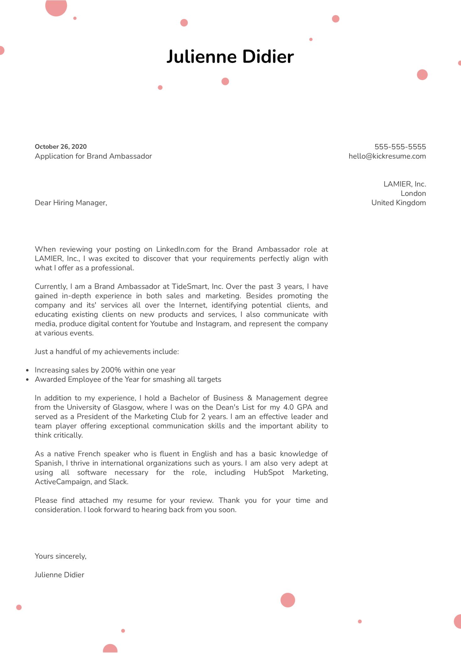 Brand Ambassador Cover Letter Sample Kickresume