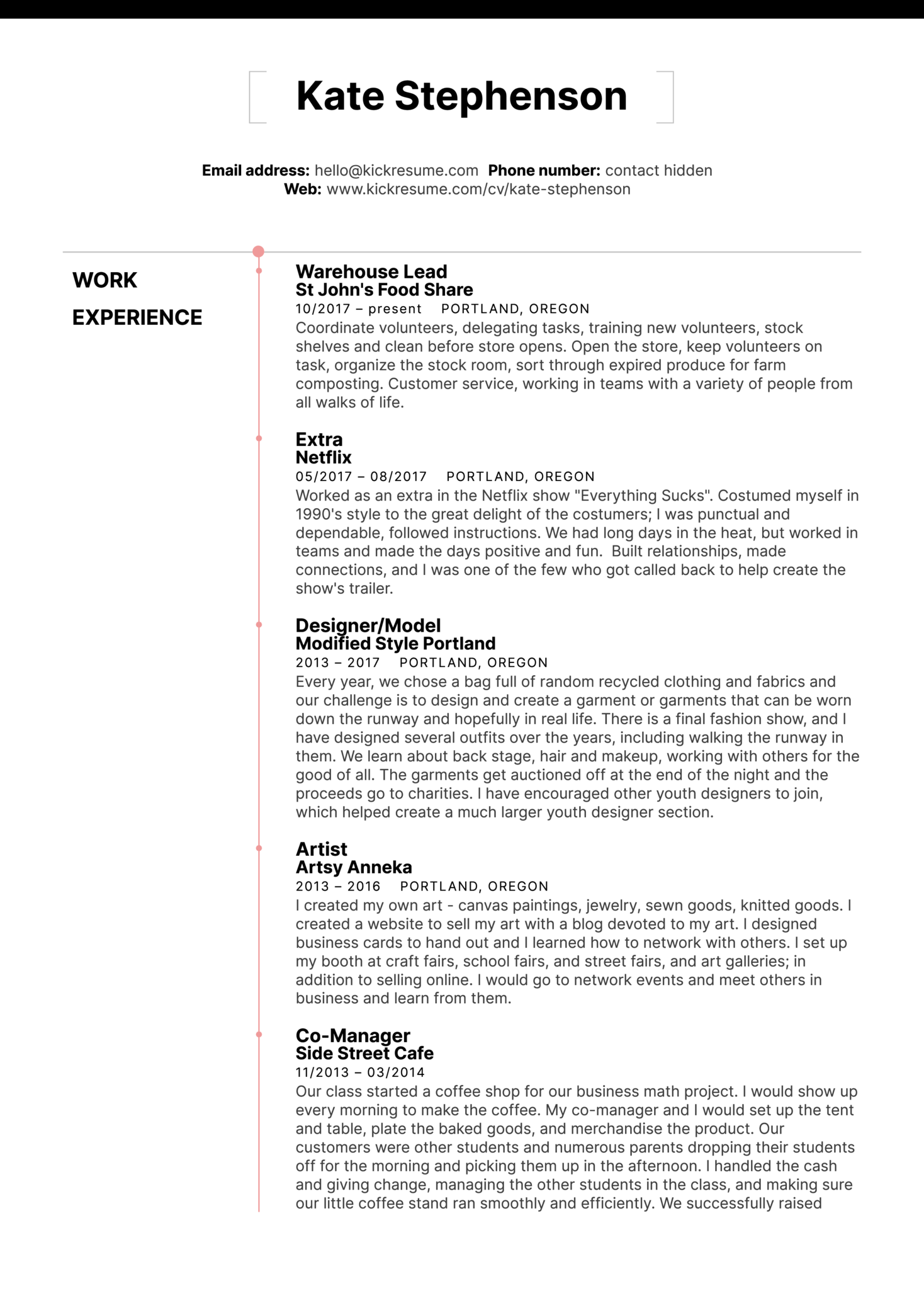 Starbucks Barista Resume Sample (Part 1)
