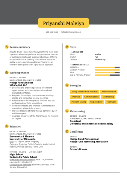 Hedge Fund Analyst Resume Sample