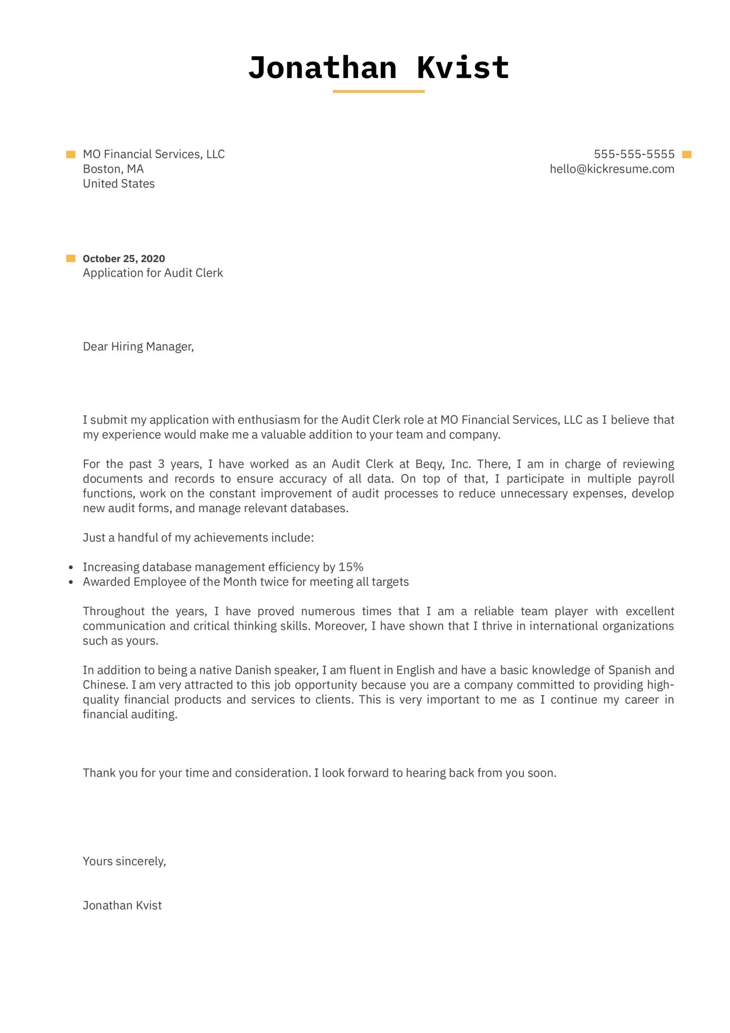 Audit Clerk Cover Letter Sample