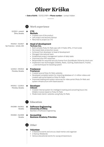 Senior Web Developer Resume Sample