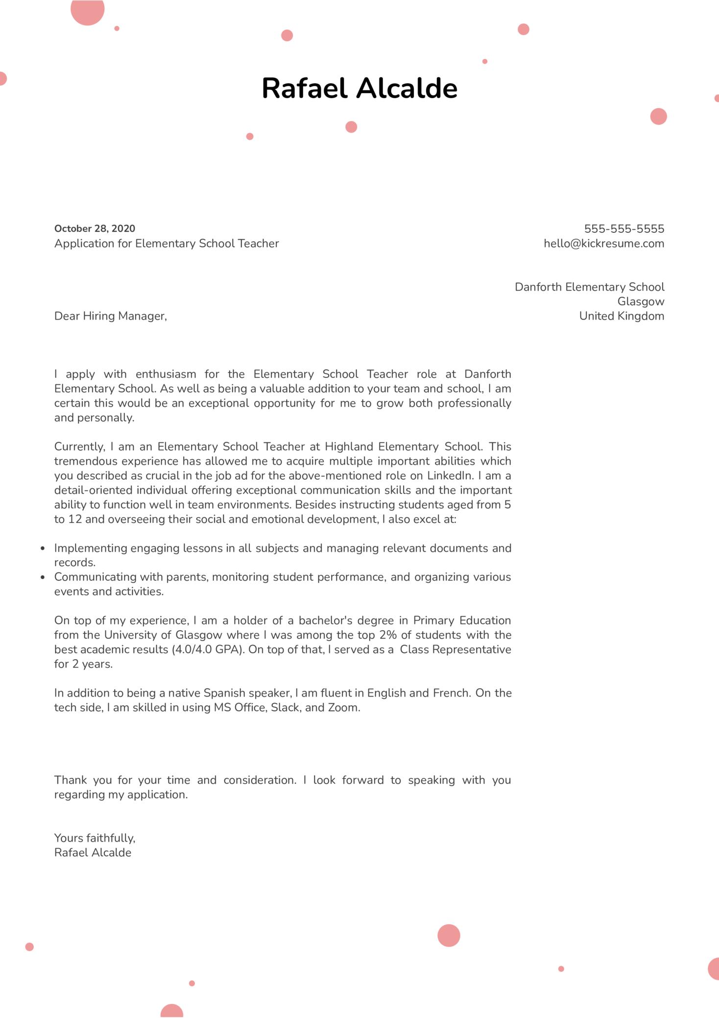 Elementary Teacher Cover Letter Sample