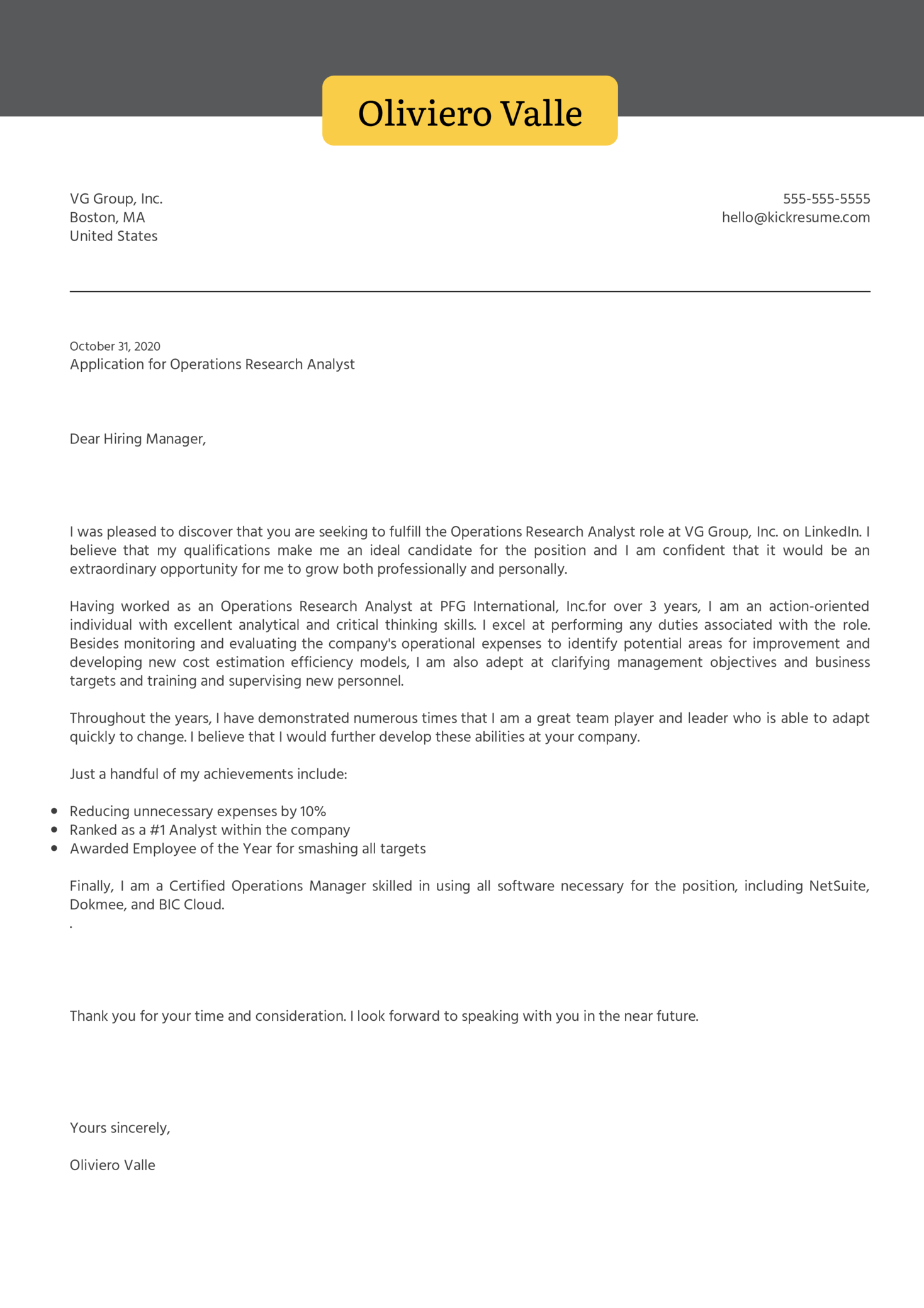 Operations Research Analyst Cover Letter Sample
