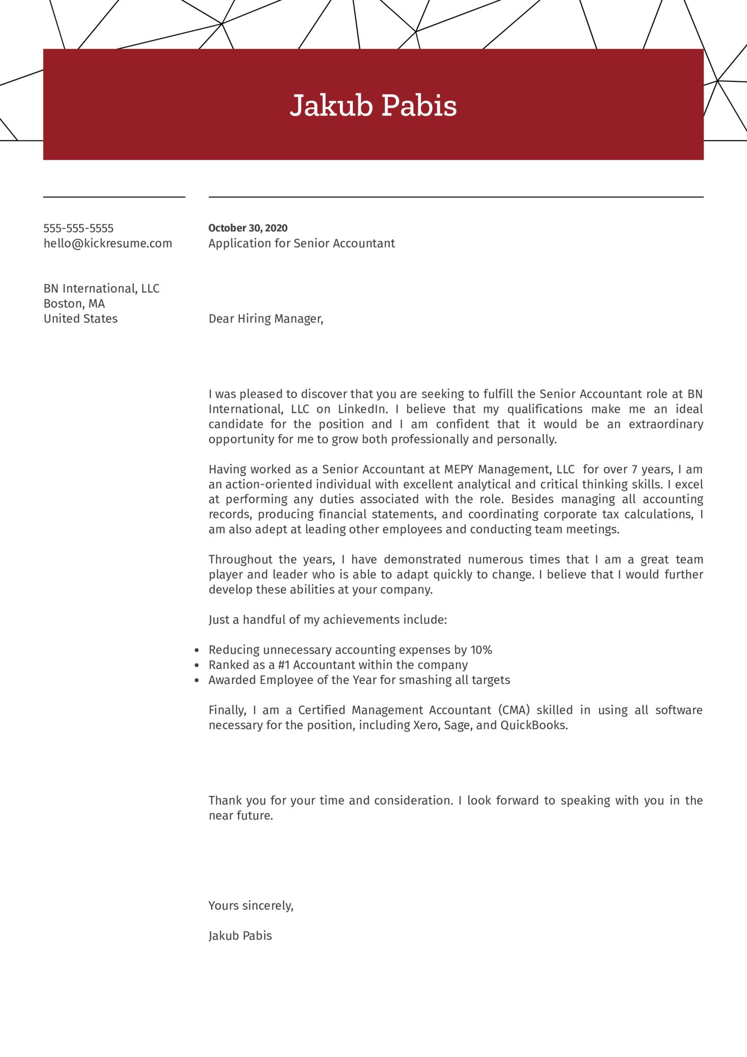 Senior Accountant Cover Letter Sample
