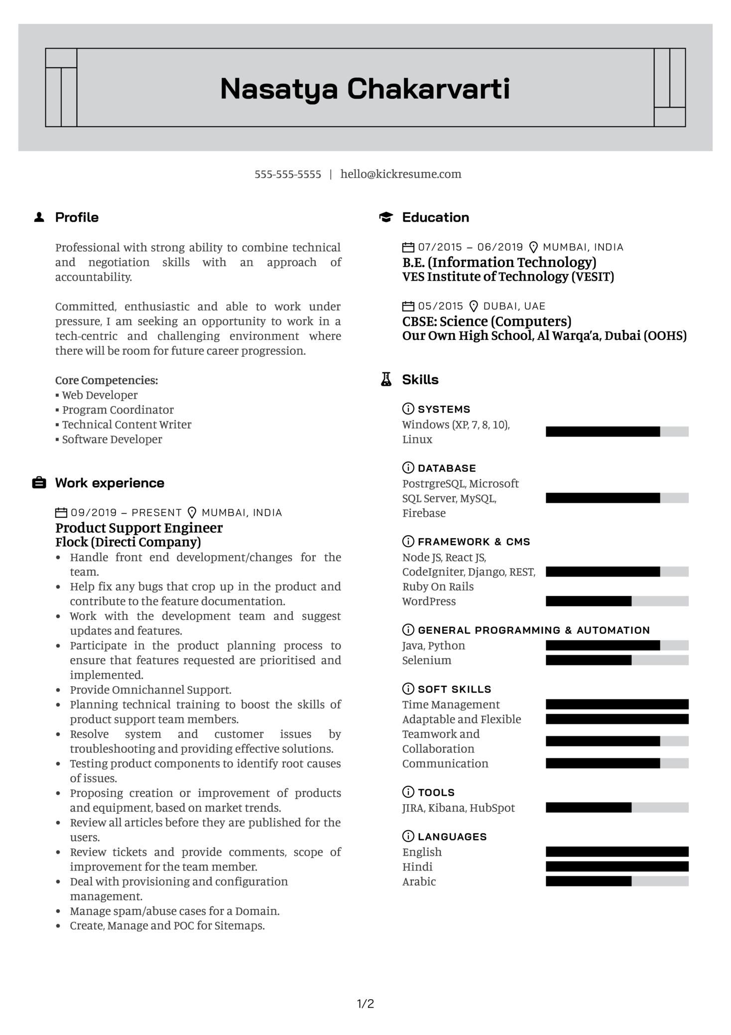 Product Engineer at Flock Resume Sample