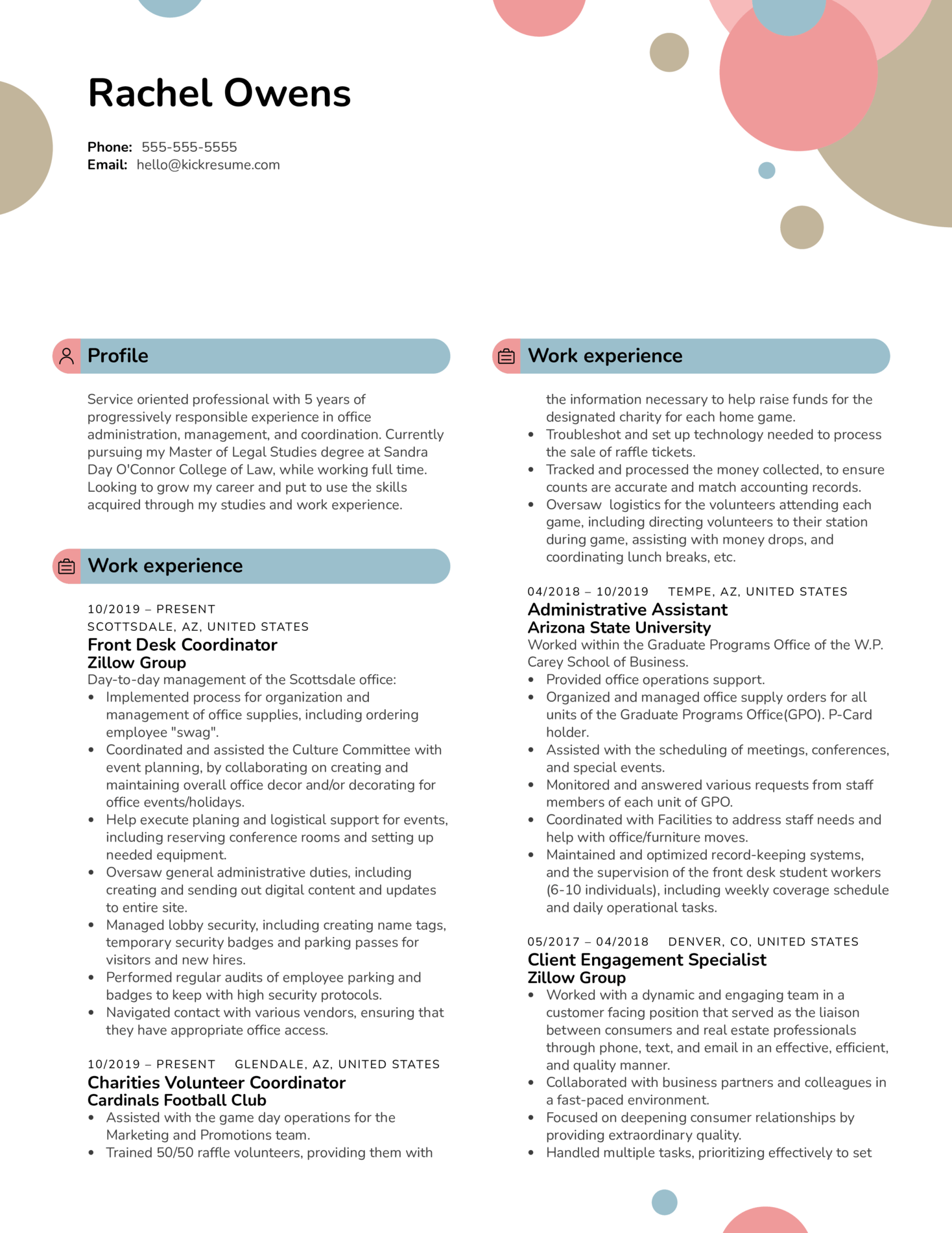Front Desk Coordinator at Zillow Group Resume Sample