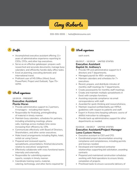 executive assistant at artisan partners resume sample