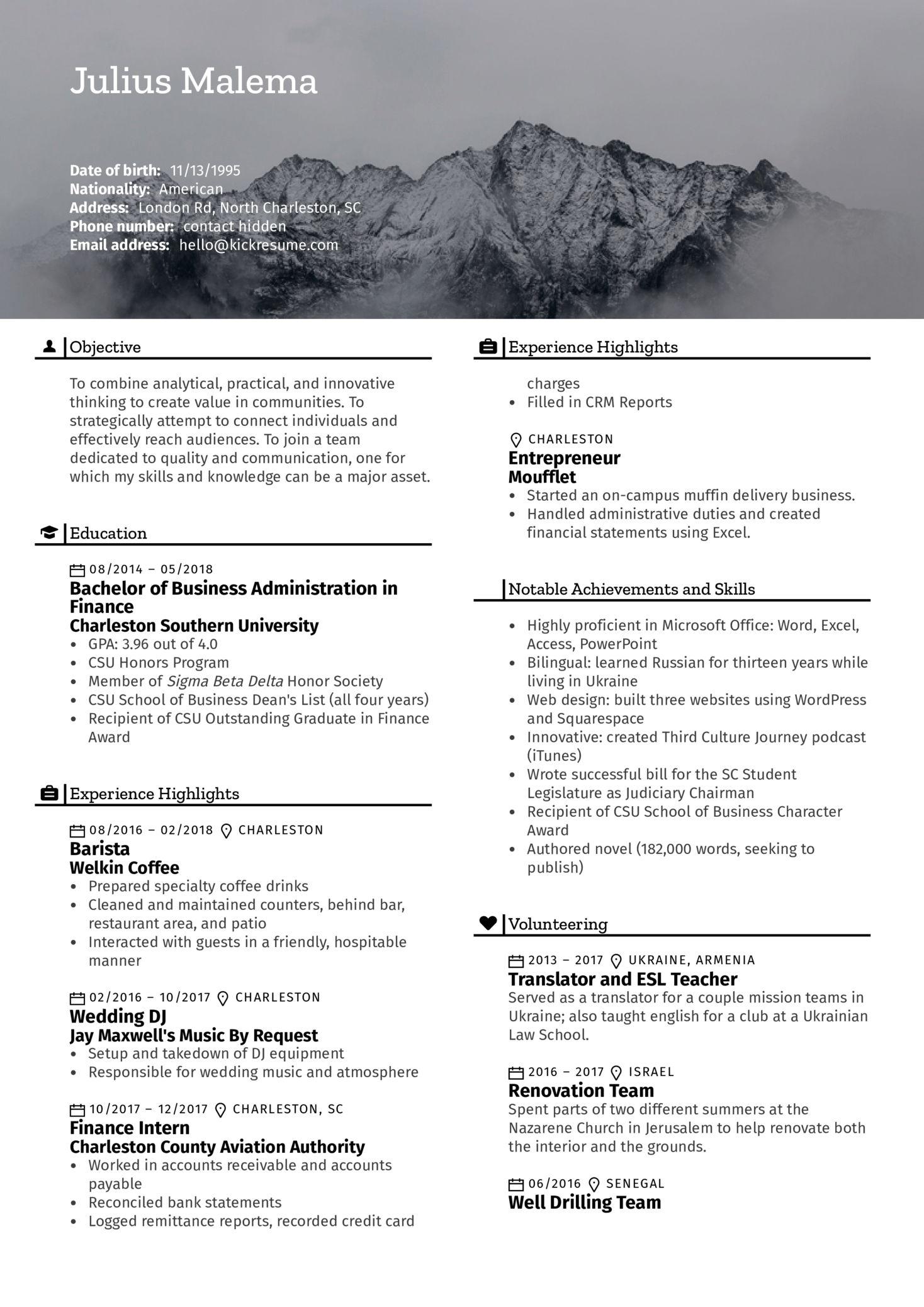 finance intern resume example