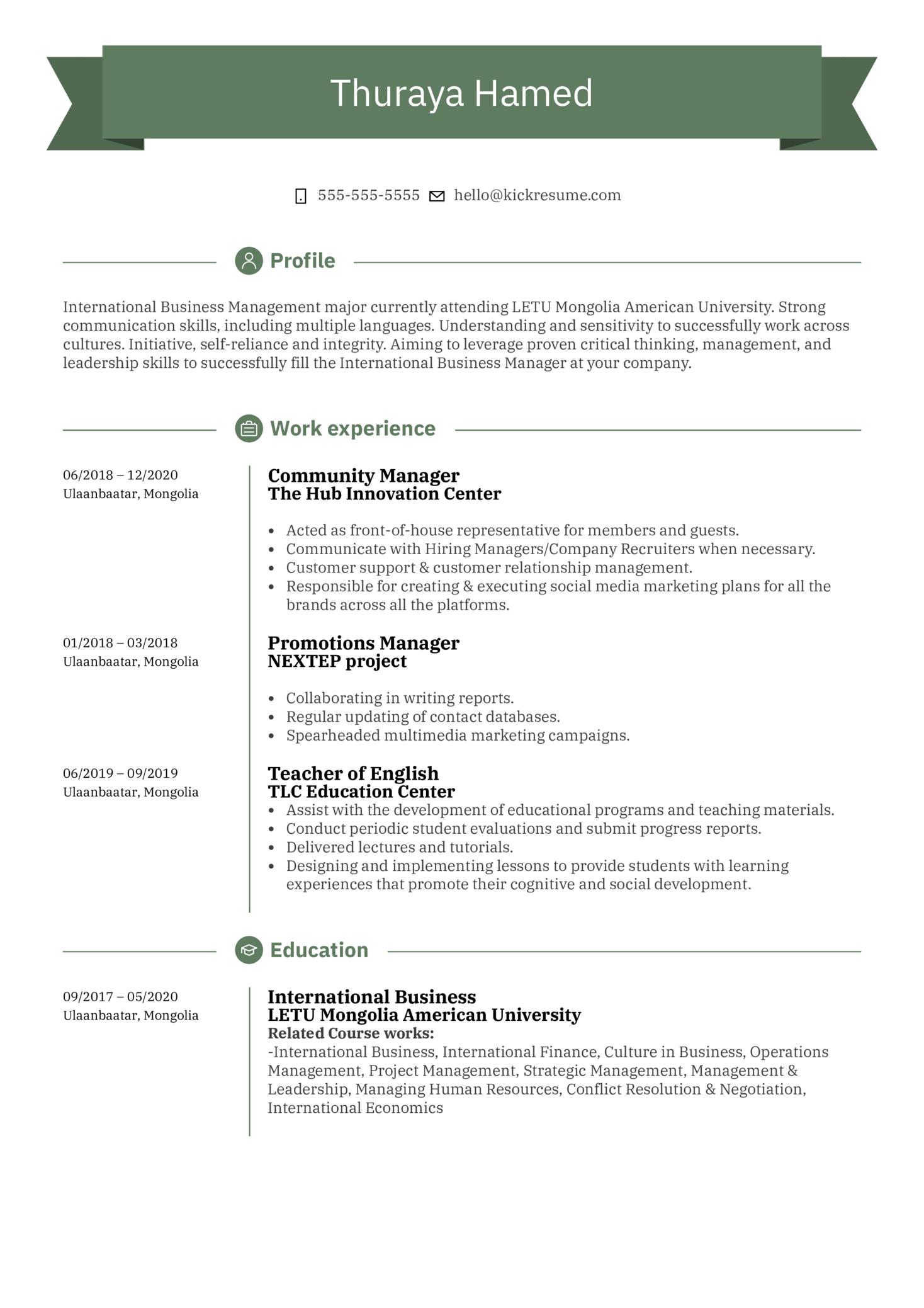 UNFPA Intern Resume Sample (Parte 1)