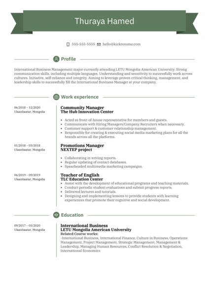 UNFPA Intern Resume Sample
