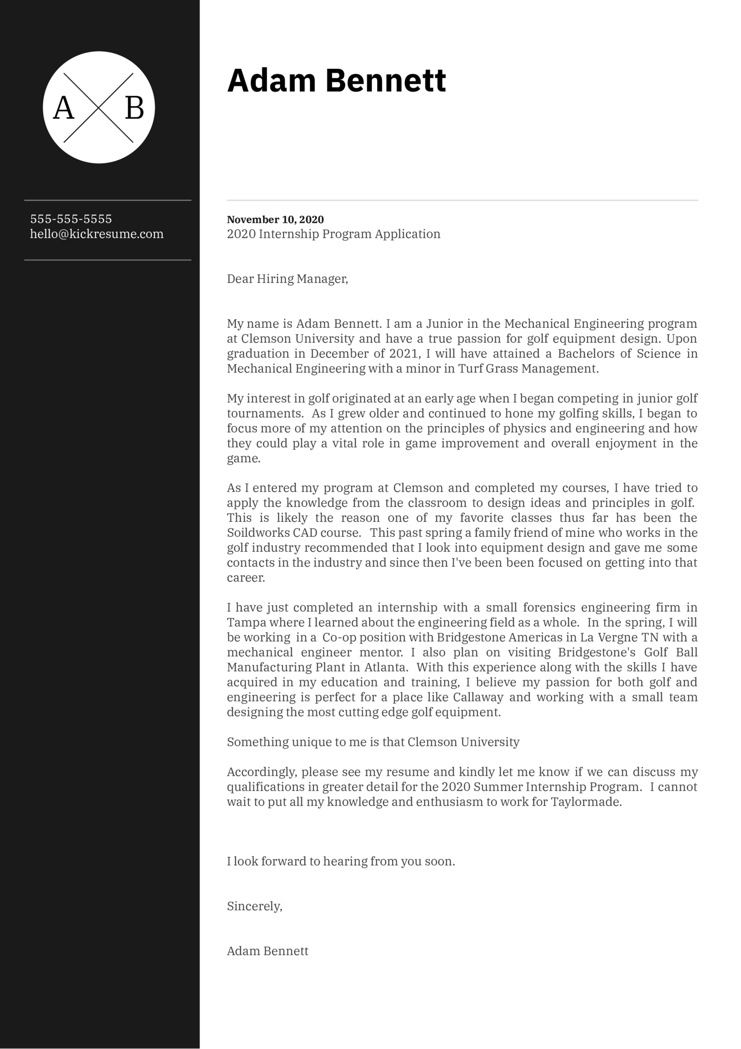 Mechanical Engineering Intern at TaylorMade Cover Letter Sample