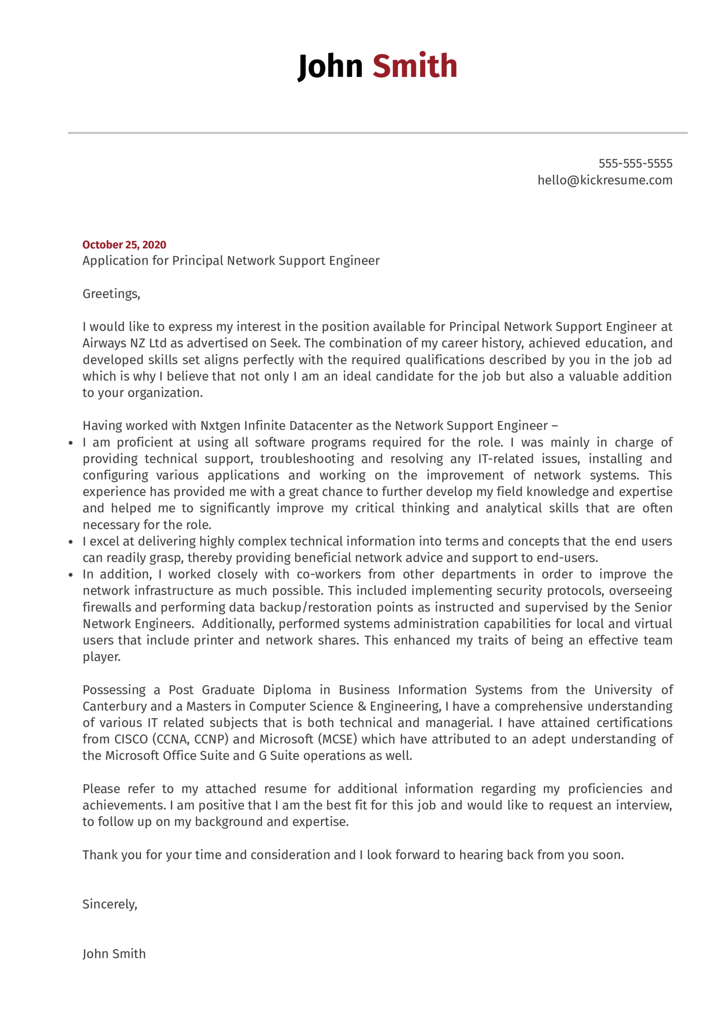 Cover letter for resume of network engineer to write a business proposal example
