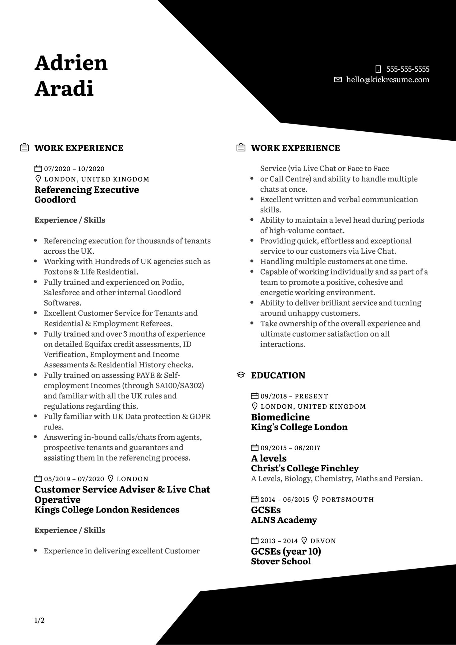 Enrolment Coordinator at Hult Resume Sample (časť 1)