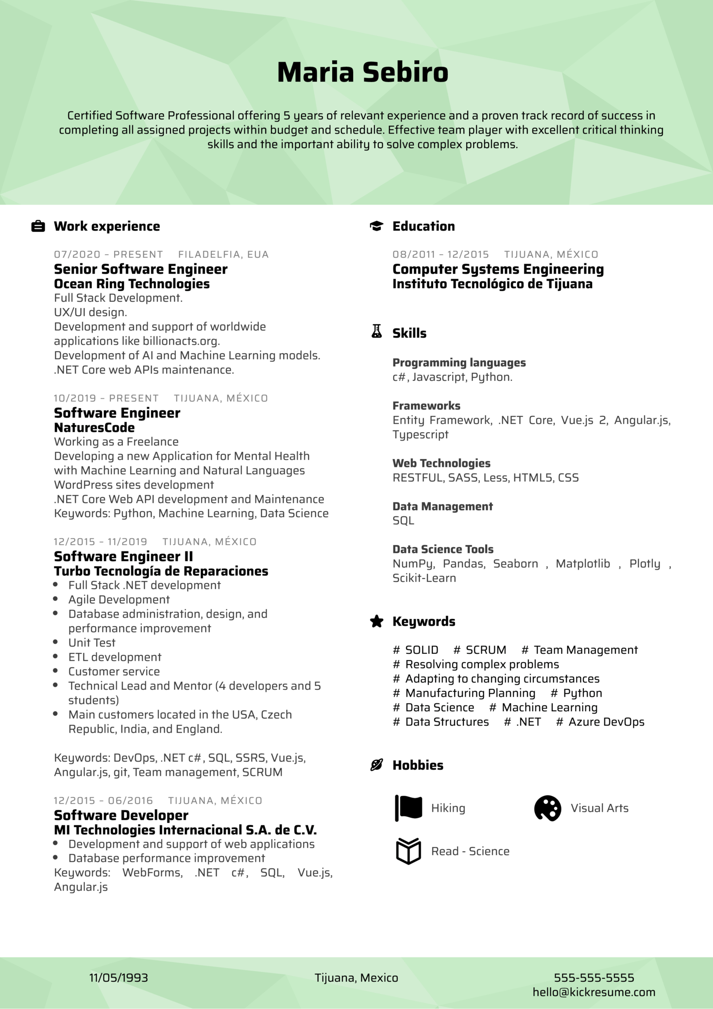 Software Professional at NaturesCode Resume Example