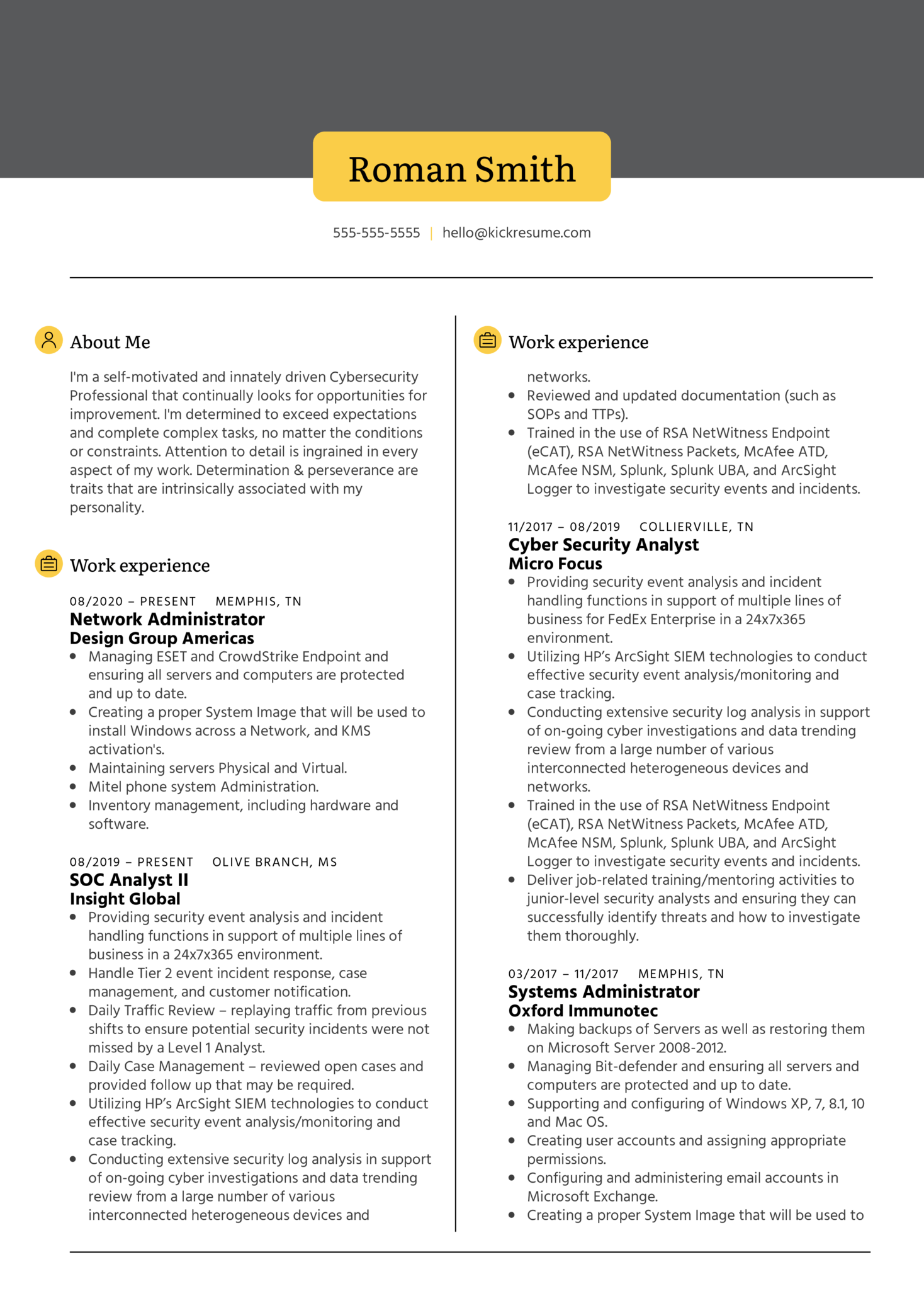 Network Administrator at Design Group Resume Sample (Part 1)