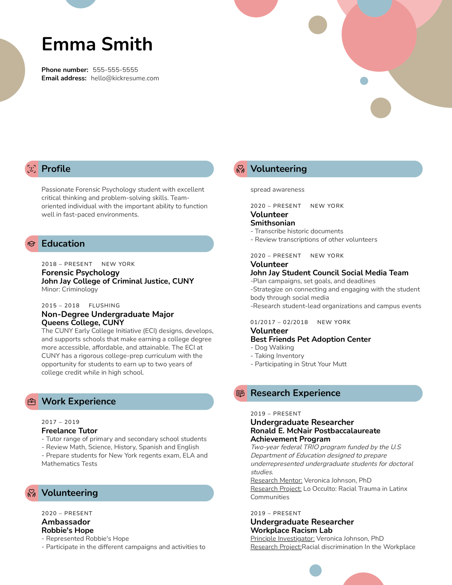 Research Extern at American Foundation for Suicide Prevention Resume Sample (časť 1)
