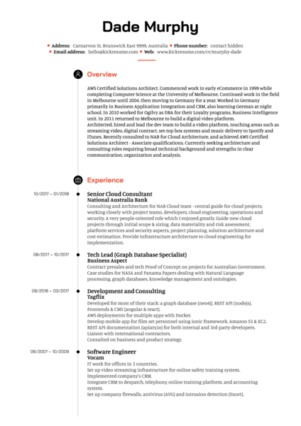 Bank senior cloud architect resume example