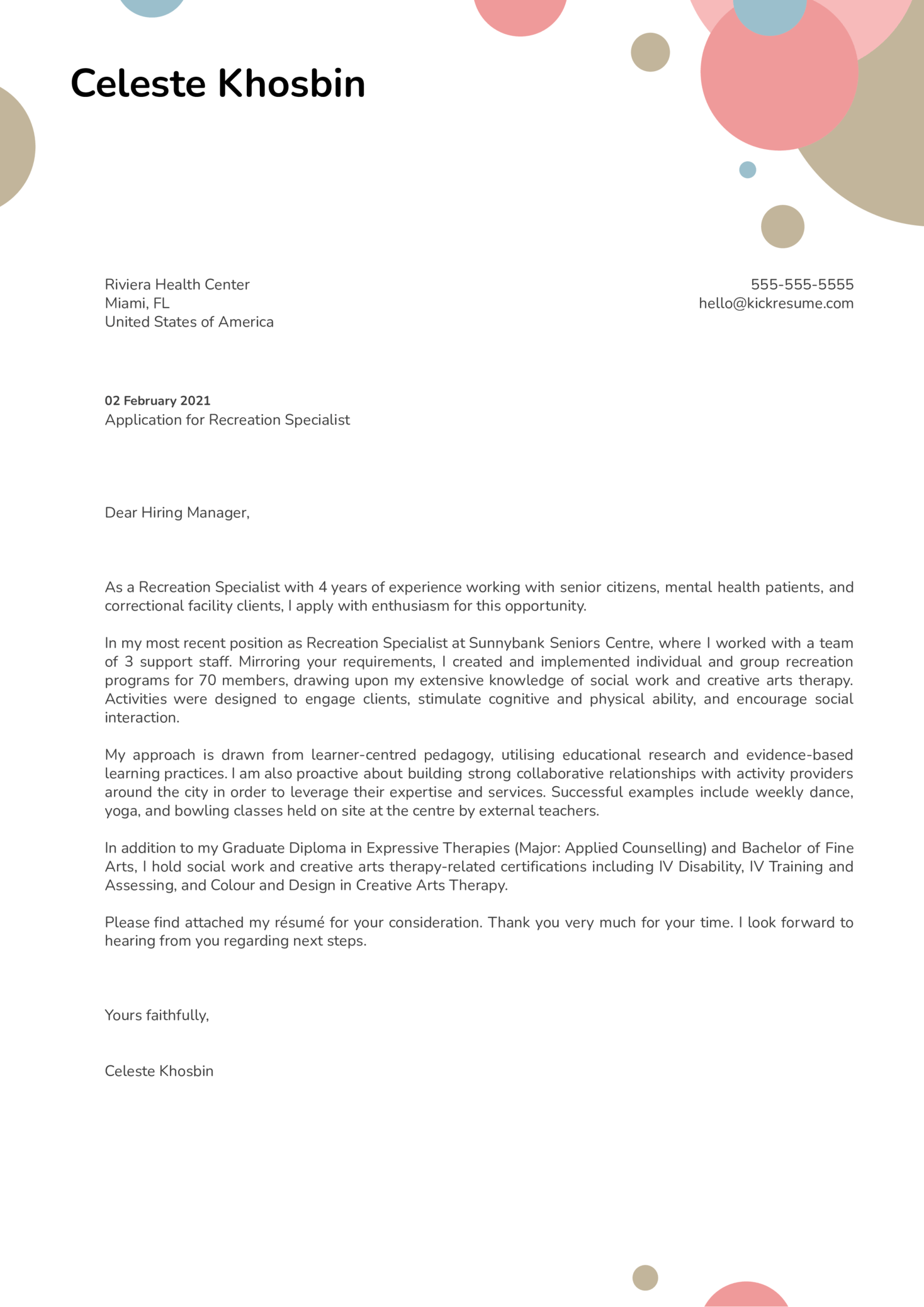 Recreation Specialist Cover Letter Example