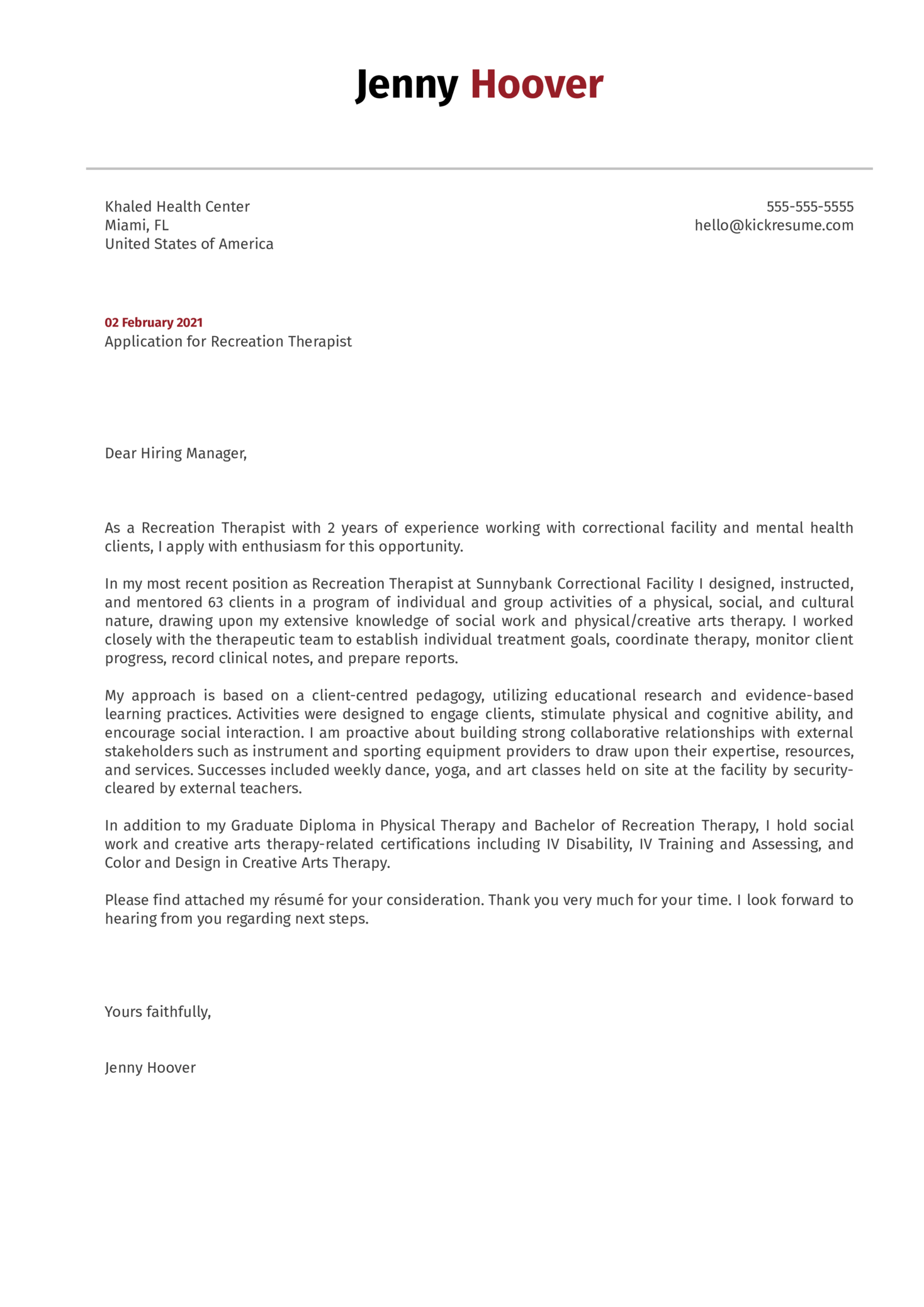 Recreation Therapist Cover Letter Example