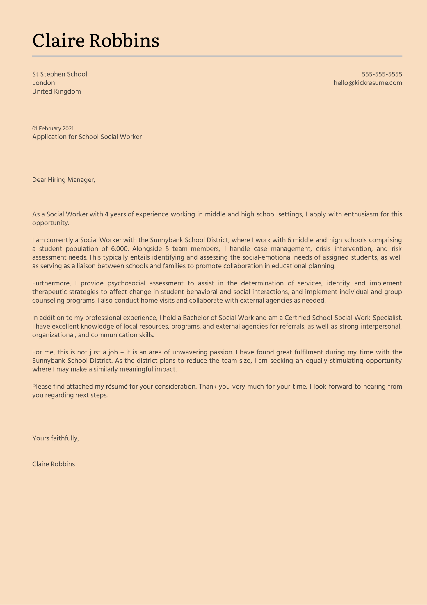School Social Worker Cover Letter Template