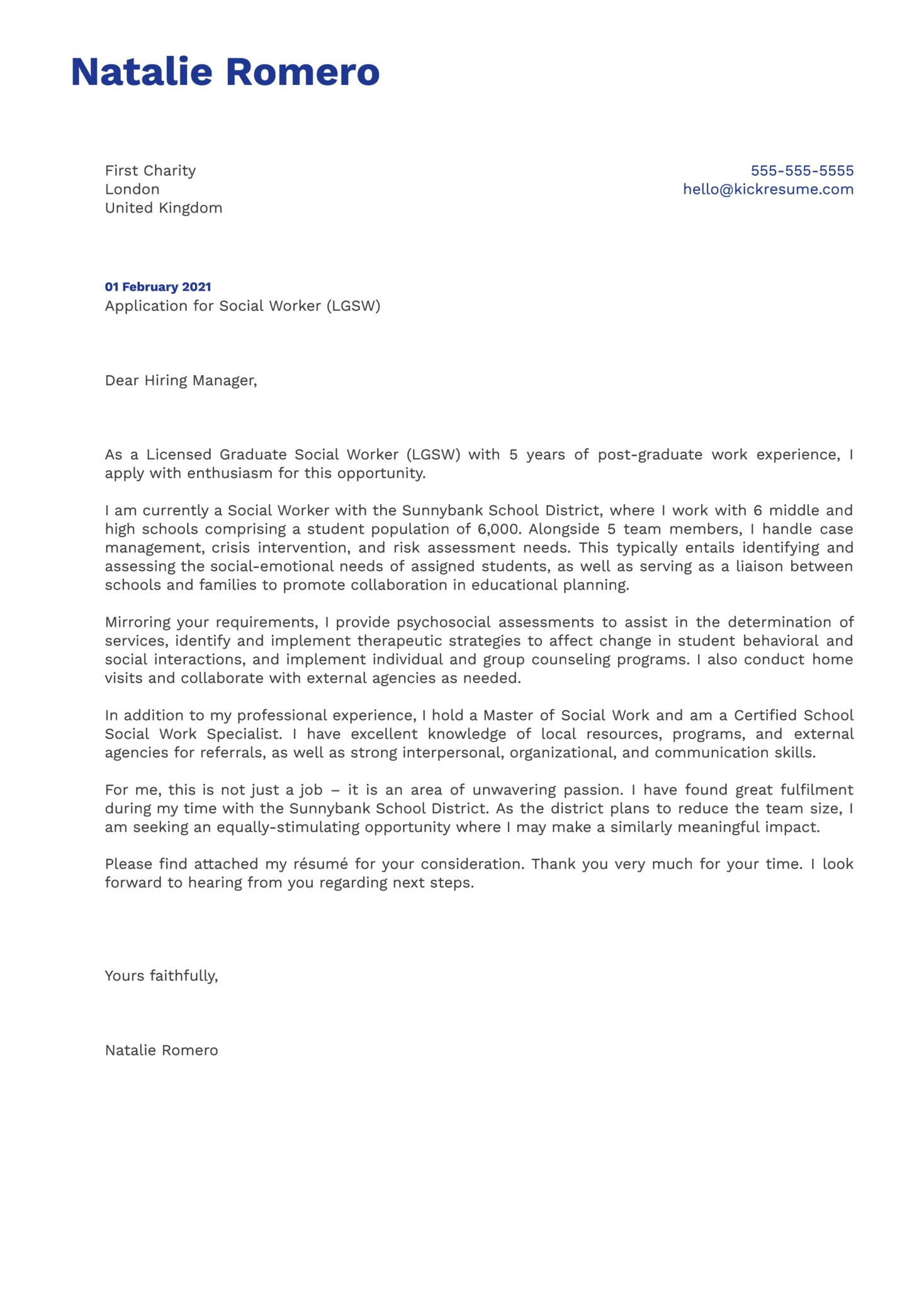 Social Worker Lgsw Cover Letter Template Kickresume