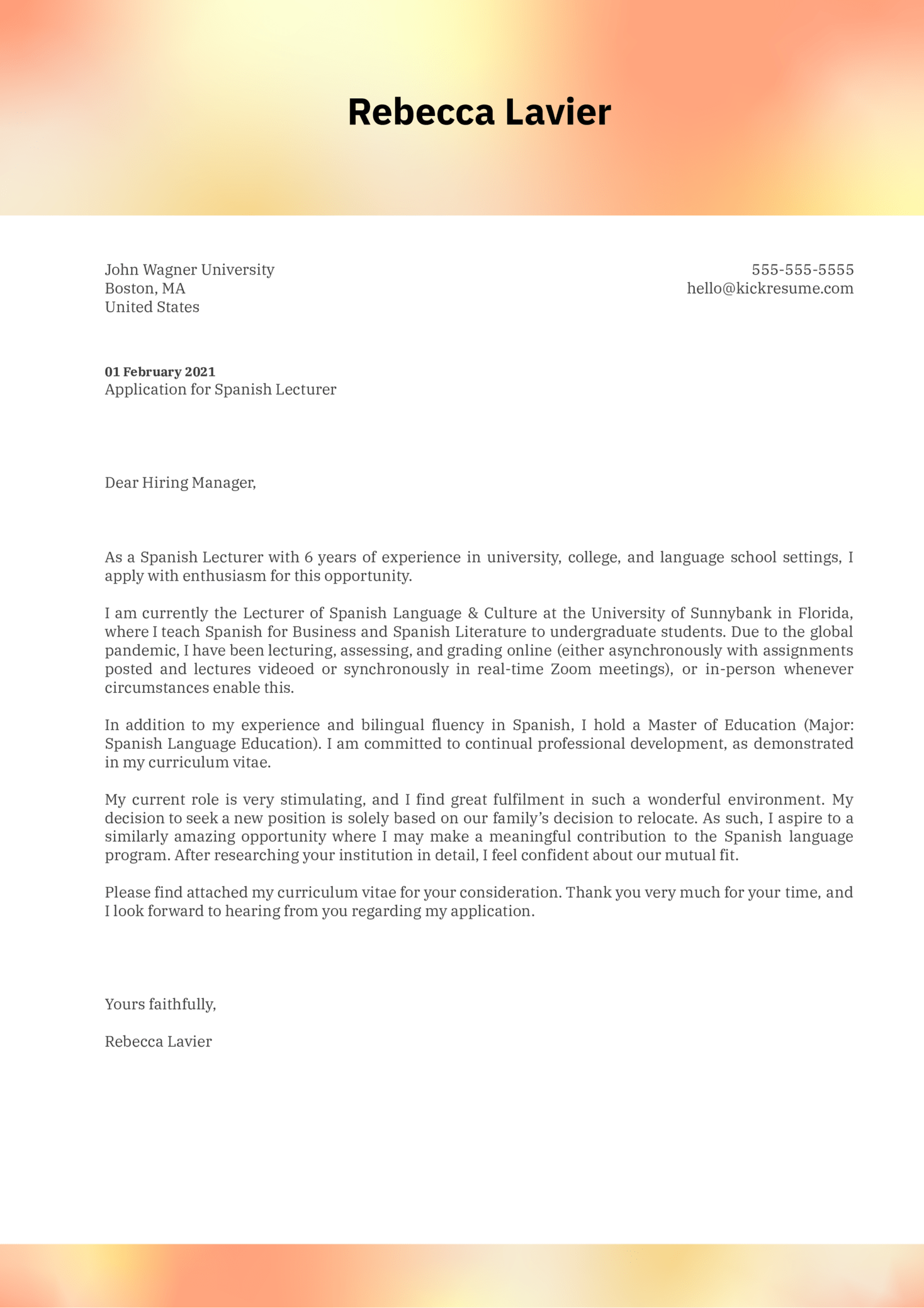 Spanish Lecturer Cover Letter Example