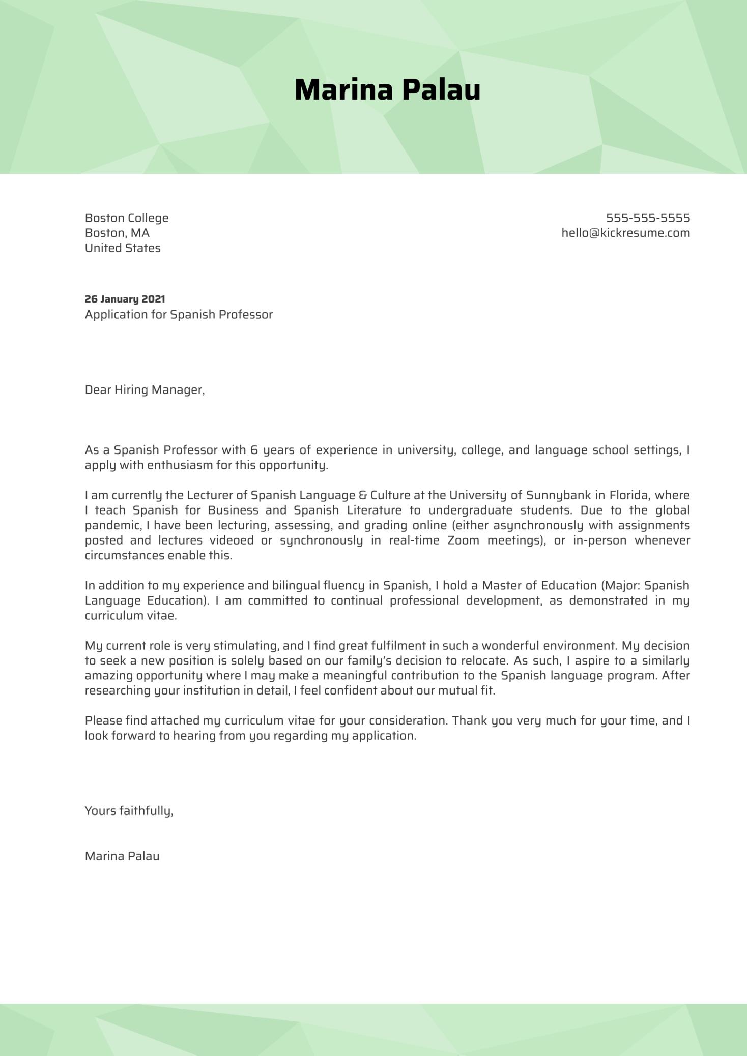 Spanish Professor Cover Letter Template