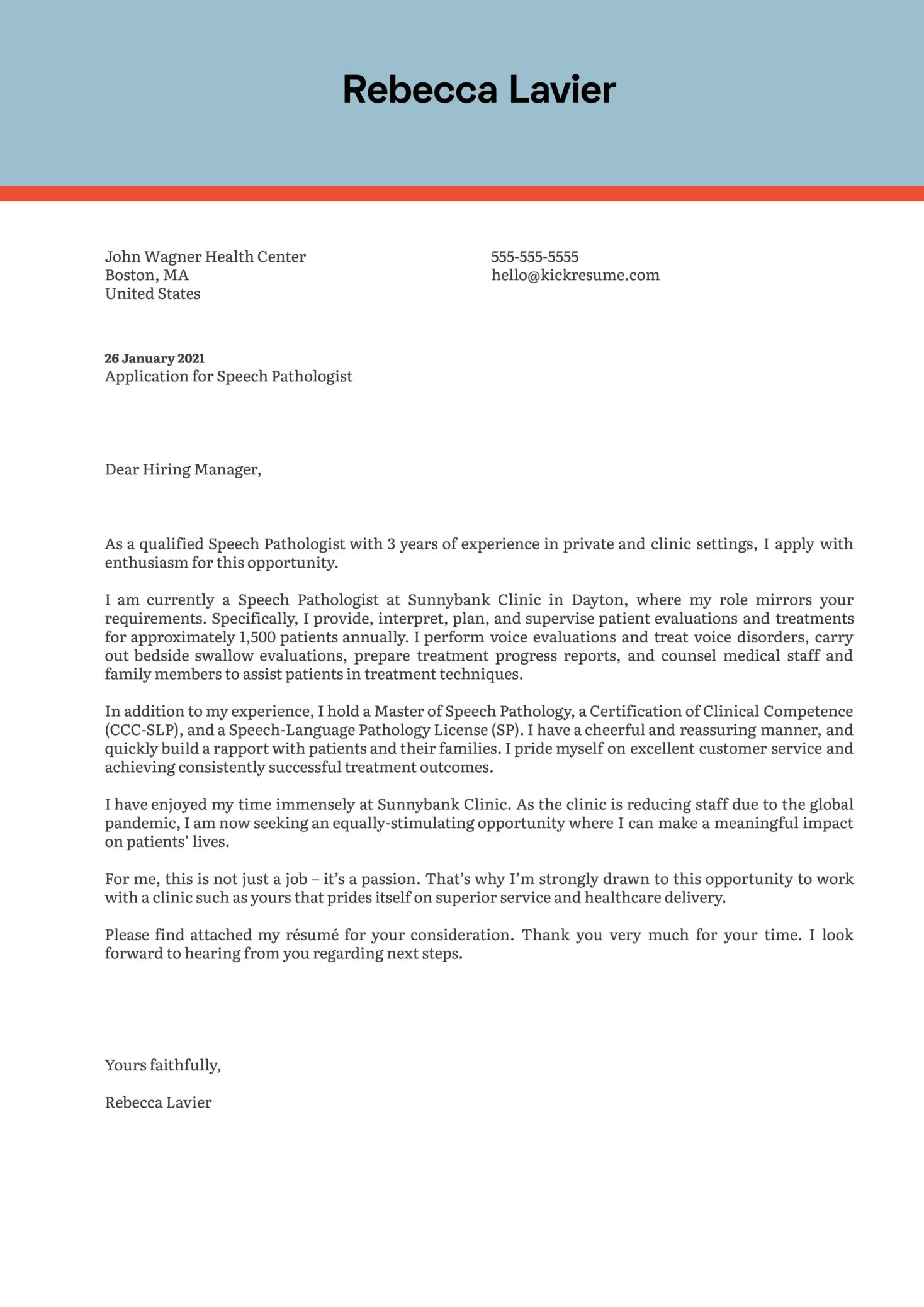 Speech Pathologist Cover Letter Template