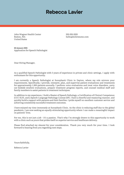 Speech Pathologist Cover Letter Template