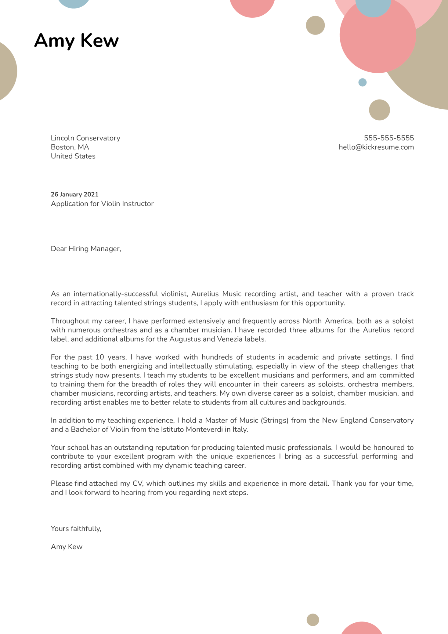 Violin Instructor Cover Letter Example
