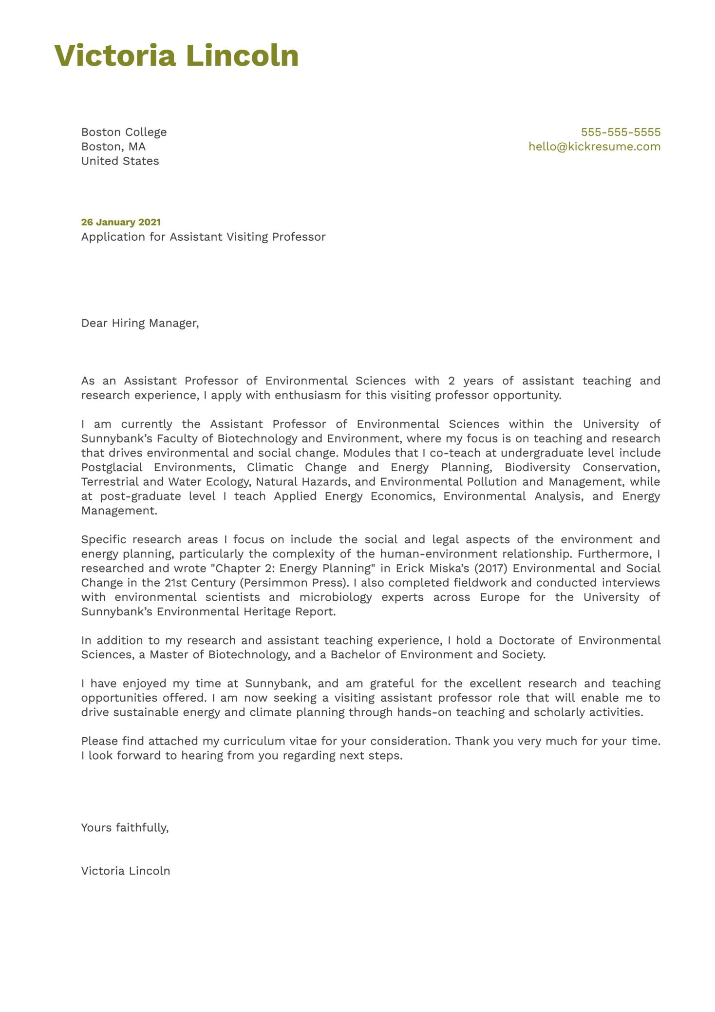 Assistant Visiting Professor Cover Letter Sample