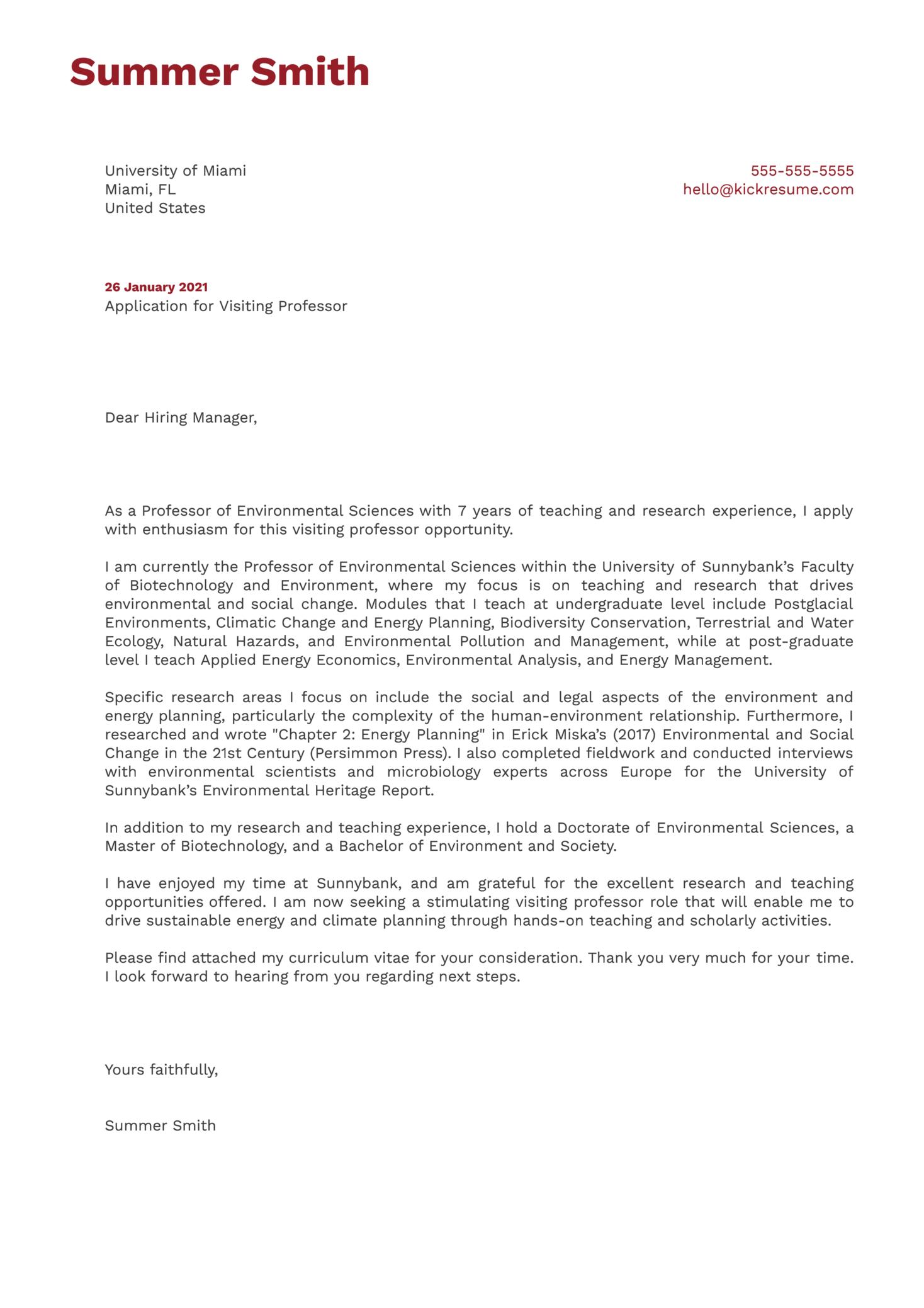 Visiting Professor Cover Letter Sample