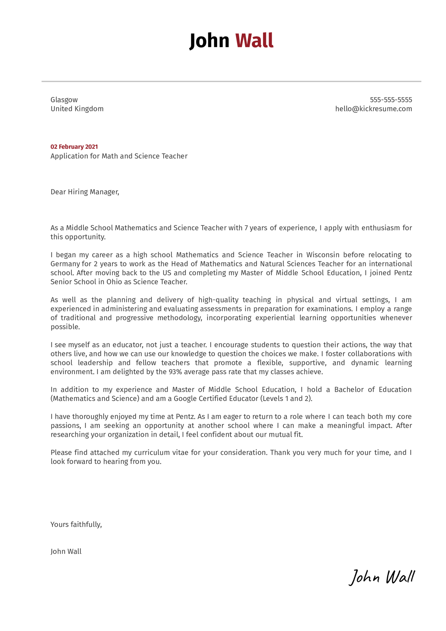 Math And Science Teacher Cover Letter Example Kickresume