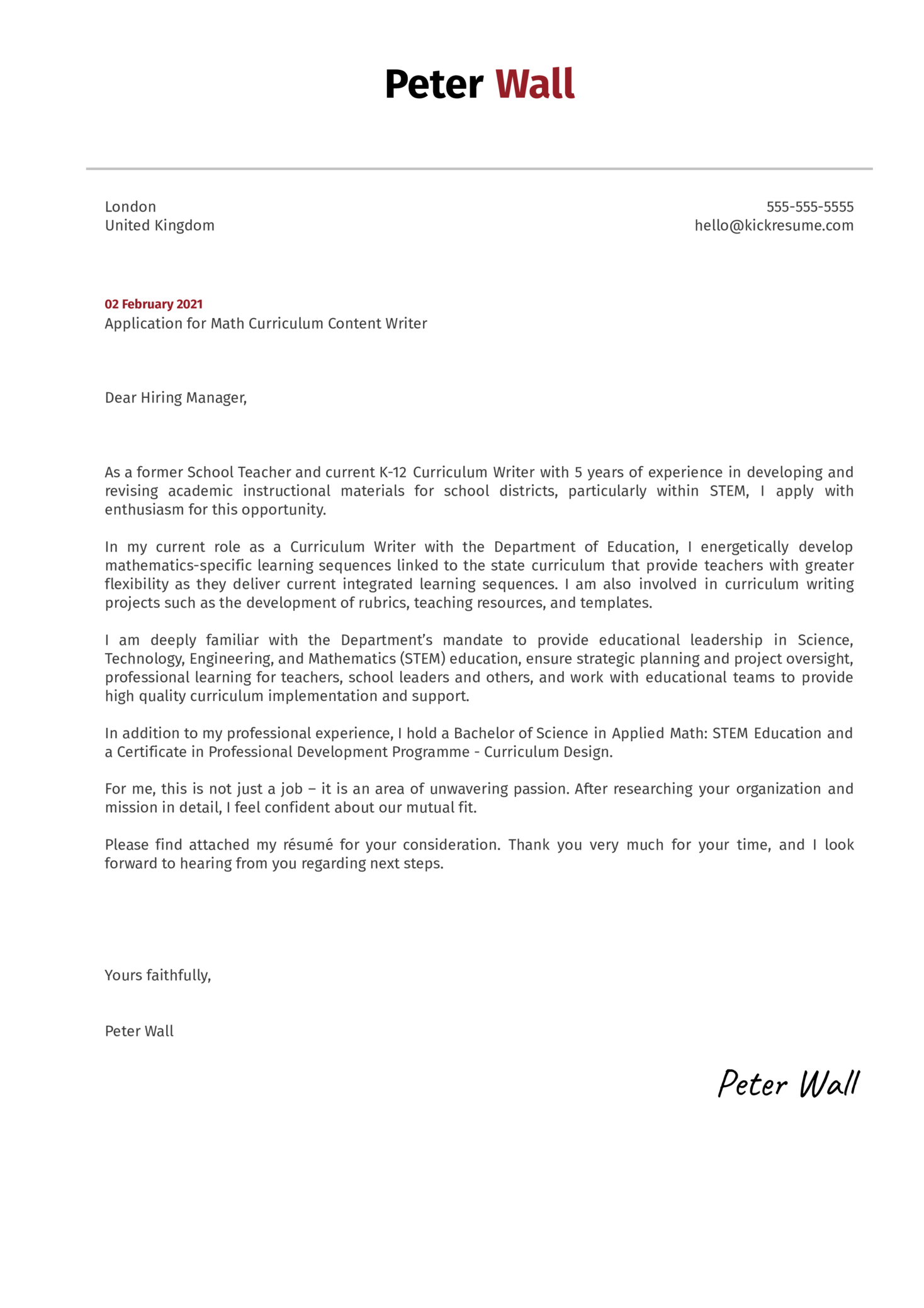 Math Curriculum Content Writer Cover Letter Sample
