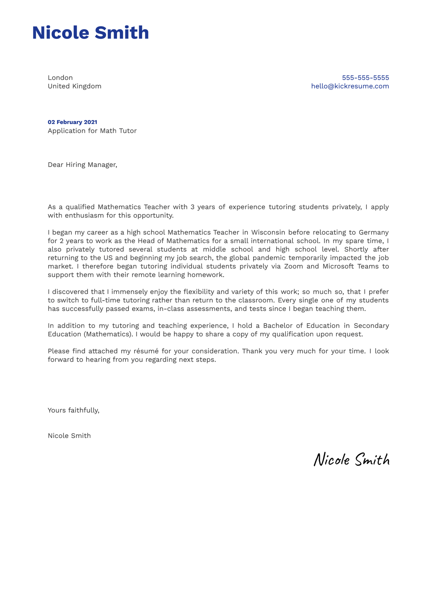 Math Tutor Cover Letter Example