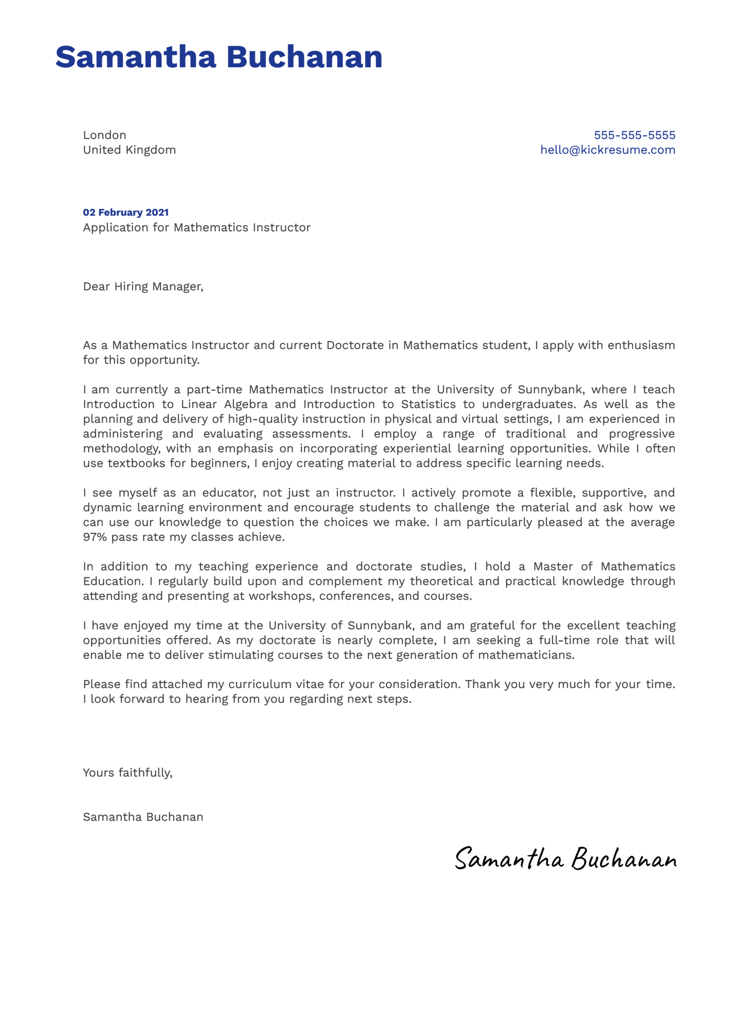 Mathematics Instructor Cover Letter Example
