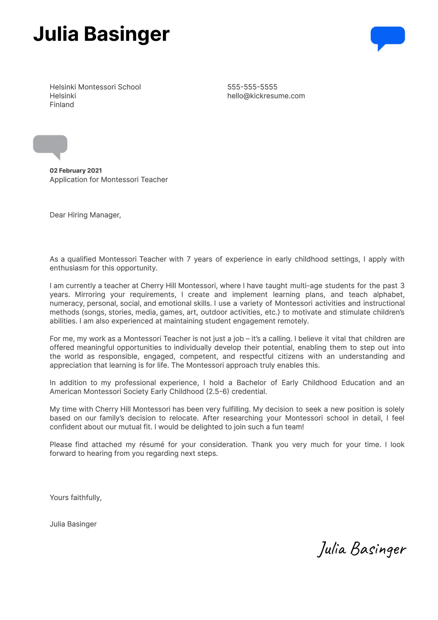 Montessori Teacher Cover Letter Template