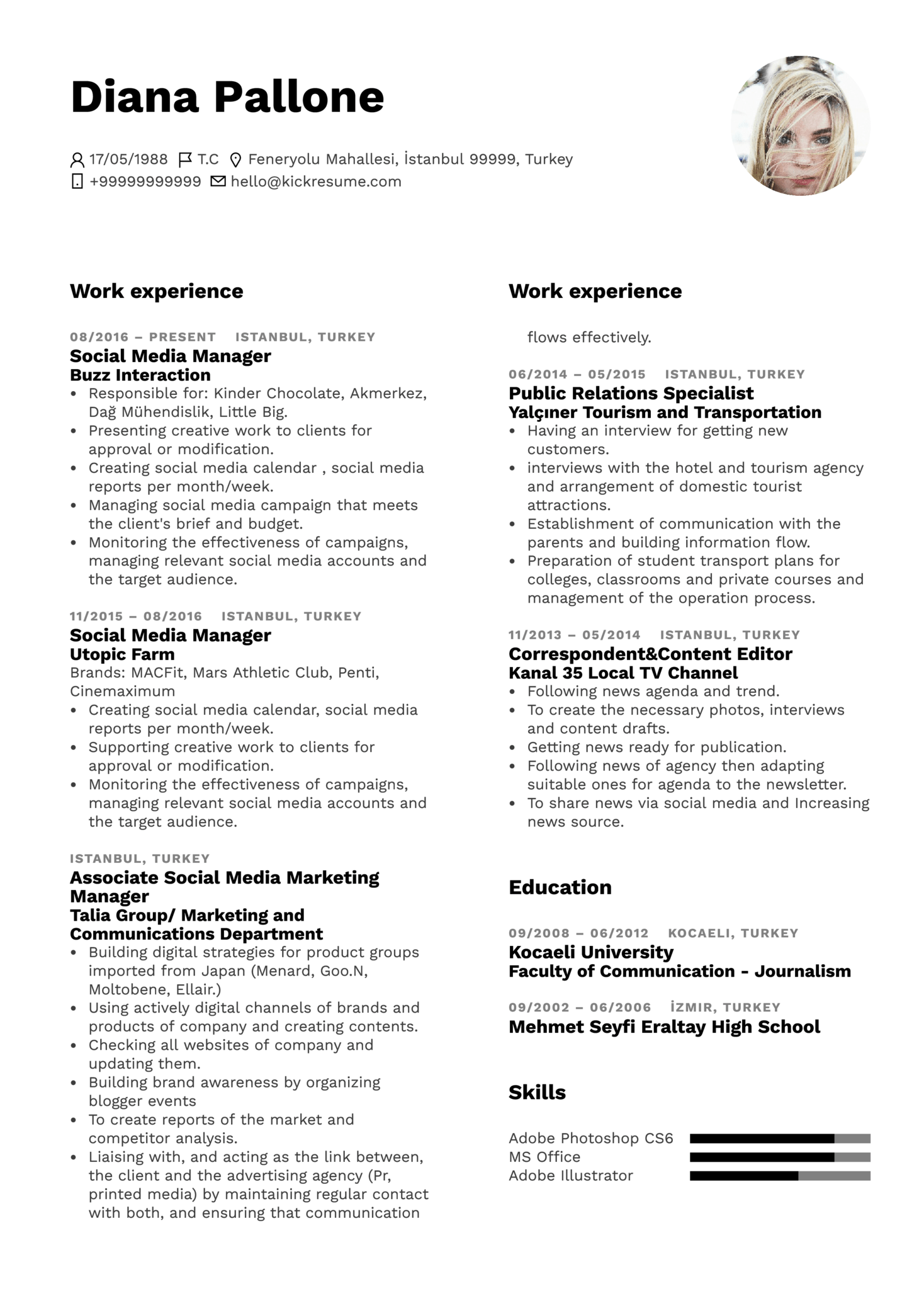 resume examples by real people  loreal social media