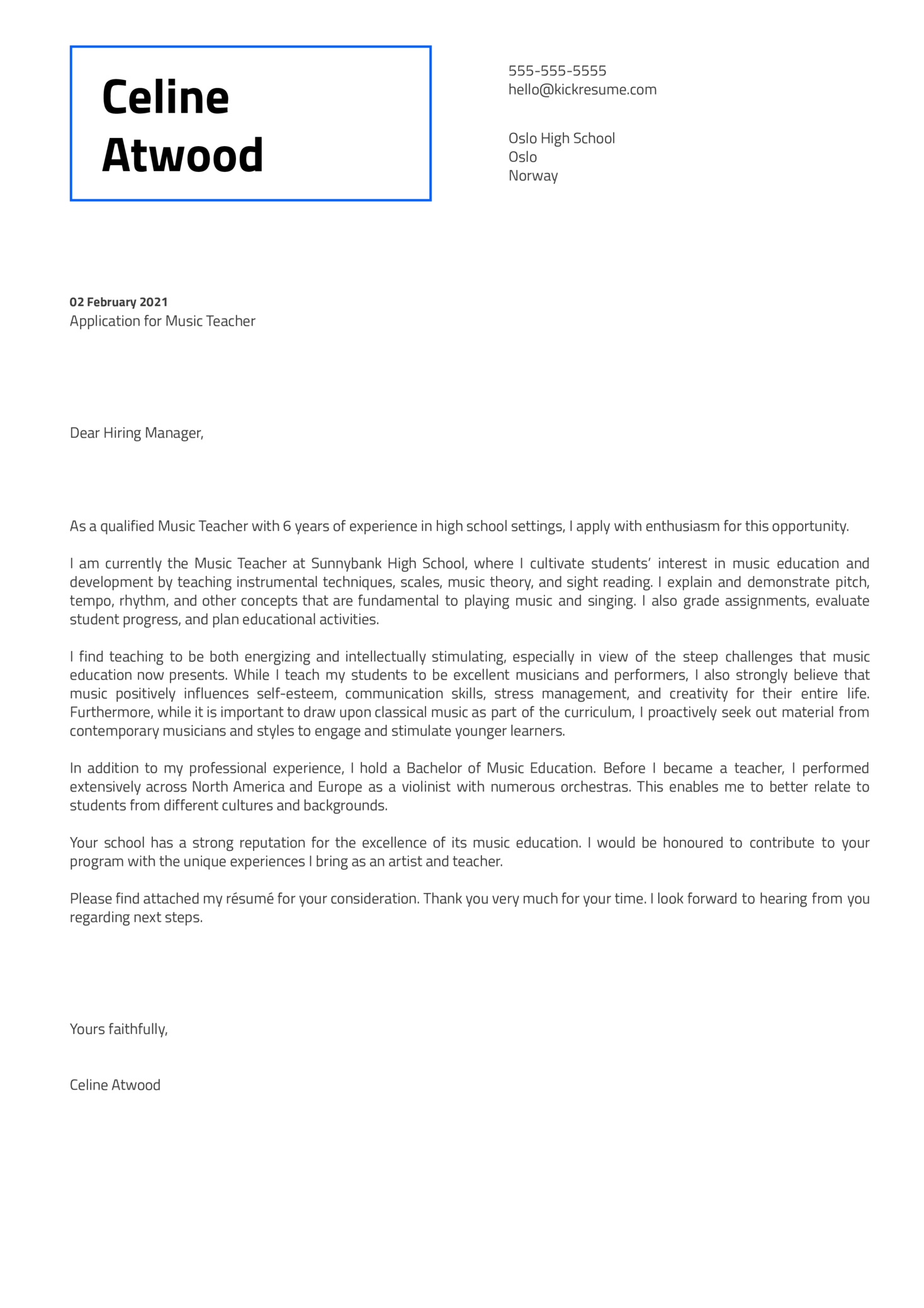 Music Teacher Cover Letter Template